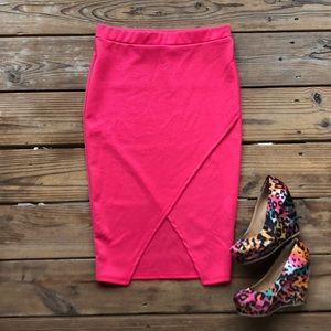 Pink High Waisted Crossover Pencil Skirt